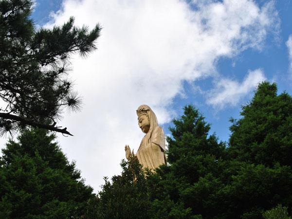 景点介绍:南海观音铜像 普陀山南海观音铜像坐落于双峰山南端的观音